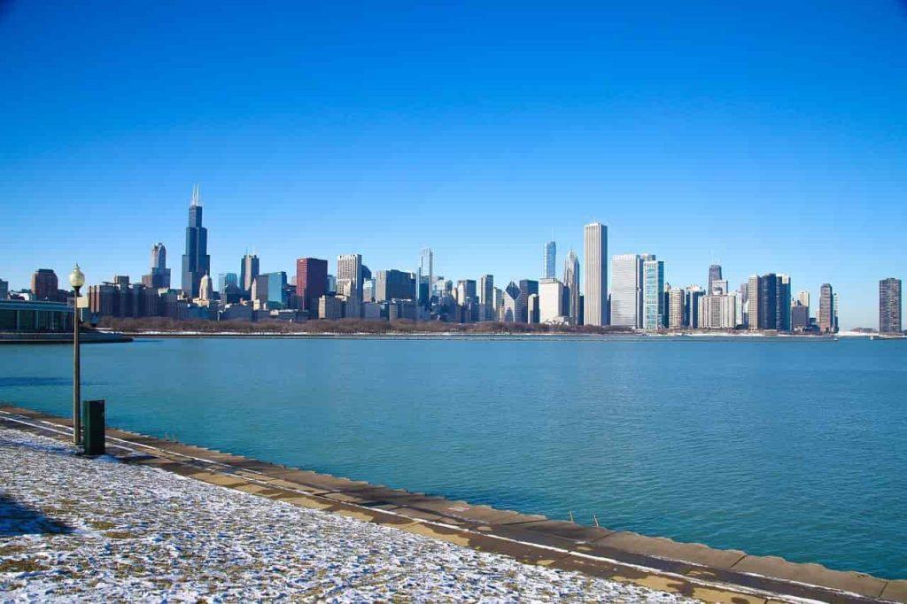 Skyline över Chicago på vintern
