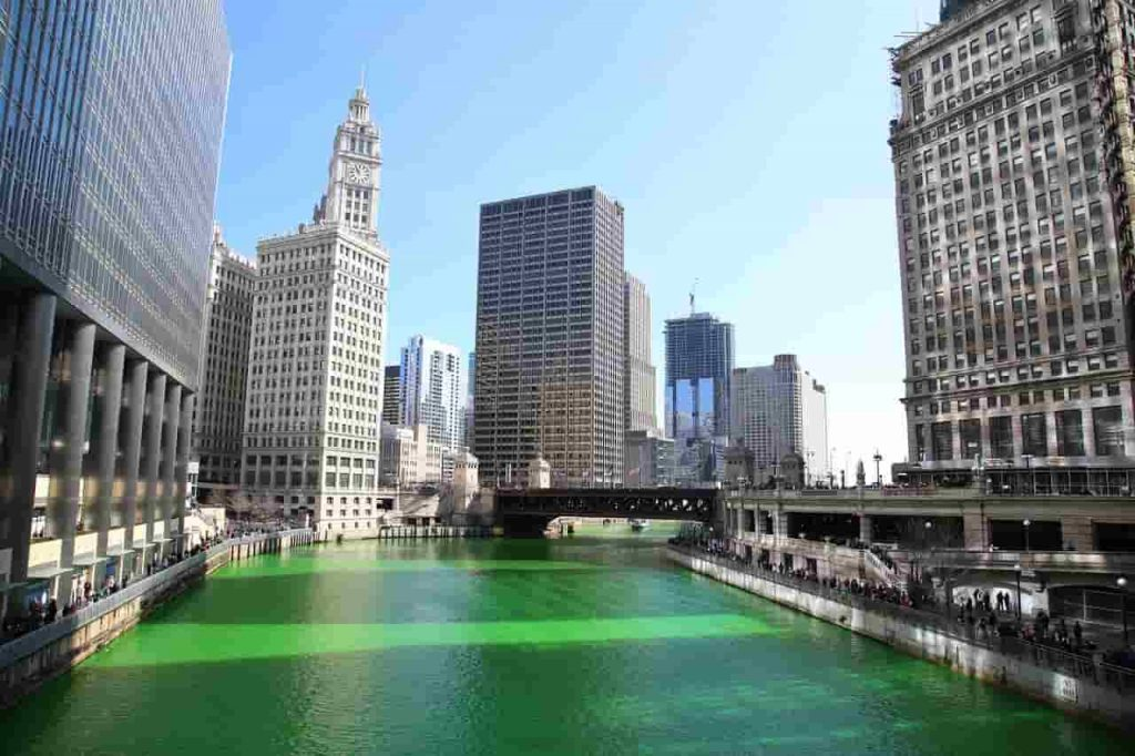 Chicagofloden under St. Patrick´s Day